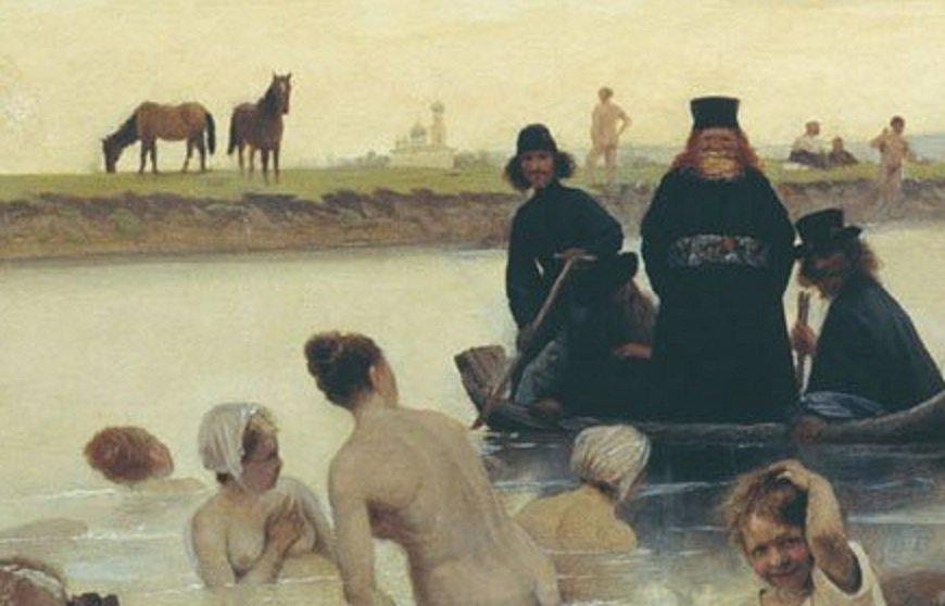 Фрагмент картины Соколова «Монахи. Не туда заехали»